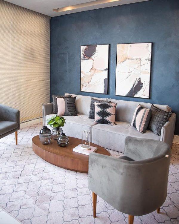 sala com efeito cimento queimado cores especiais azul cs tintas eucatex