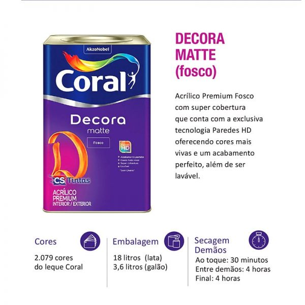 tinta coral decora matte premium 18l