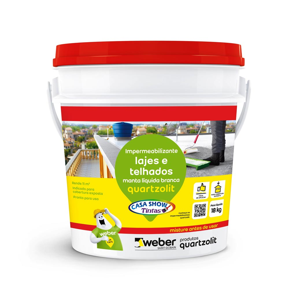 Impermeabilizante Manta Liquida para laje Quartzolit branco – 18Kg