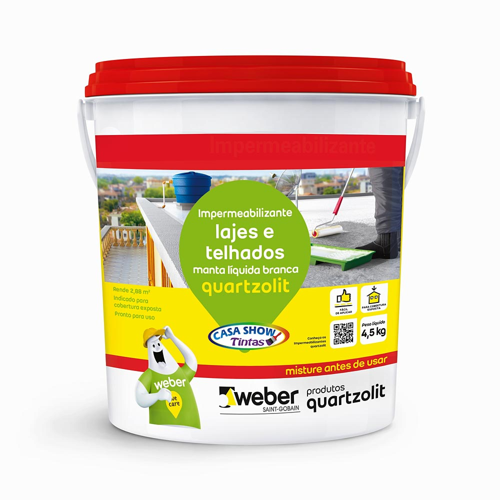 Impermeabilizante Manta Liquida para laje Quartzolit branco – 4,5Kg
