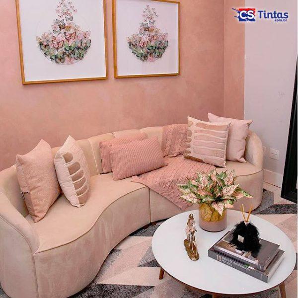 sala com efeito cimento queimado rose gold cs tintas eucatex